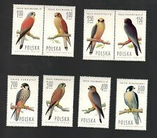 POLAND 1975 - Set of 8 Stamps - Falcons - #2074 - #2081
