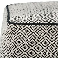Simpli Home Brynn Square Pouf, Footstool, Upholstered in Patterned Black, Nat...