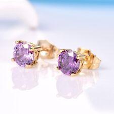 Girls Charms 24K Gold Filled Purple Amethyst  Gemstone Stud Earrings For Women