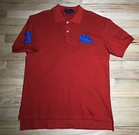Polo Ralph Lauren Red Custom Fit Mens 2XL ReShort Sleeve Blue Big Pony #3 S&B