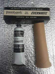 NOS Vintage PERMANENT PIGMENTS White ZINC Oil Color Paint 150ml USA LARGE