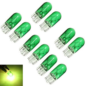 10Pcs W5W T10 501 194 Side Marker Light Glass Bulb Car Halogen Bulbs Green 12V
