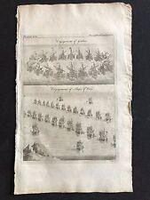 LIBRO ANTICO ORIGINALE STAMPA/Piastra 1772; Naval Fidanzamento gallies Guerra Navi 1700 S