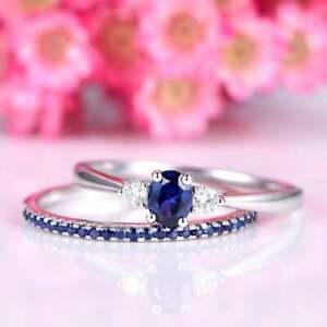 D/VVS1 Blue Sapphire Engagement Ring Set 0.50 Ct Gemstone 14K White Gold Finish