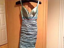Nicole Miller Techno Metal Party Prom Sheath Dress Aqua size 2