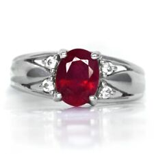 8x6mm Natural Top Red Ruby Ring With White Topaz in 925 Silver #27715