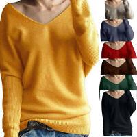 Women Winter V-Neck Long Sleeve Knitted Sweater Jumper Pullover Tops Knitwear