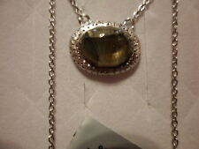 """Labradorite Oval Solitaire Necklace in 925 Sterling Silver-4.30 Carats-16-18"""""""