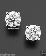 NEW 2 Carat 6MM Solid 14K White Gold AAA D-Flawless CZ Stud Earrings SPARKLING!