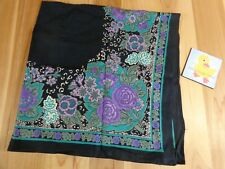 """Vintage Fashion Scarf 33"""" x 33"""" Square Black with Purple and Blue Floral Pattern"""