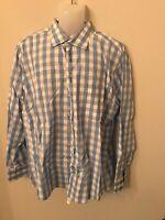 NWOT Authentic Haupt mens blue square dress shirt germany button down XL