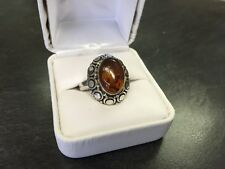 VINTAGE STERLING SILVER HANDMADE AMBER CABOCHON RING W/BOX SIZE 7 SIGNED BA