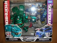 TRANSFORMERS ANIMATED VOYAGER CLASS IRONHIDE VS DX CLASS SOUNDWAVE TAKARA TOMY