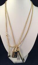 "VICTORIA'S SECRET Gold-tone Scandalous Lock and Key Pendent Necklace 40"""