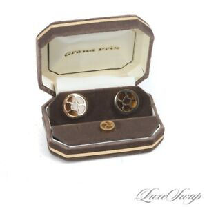 WHIMSICAL Vintage Swank Grand Prix Gold Amber Wheels Set of Cufflinks + Tie Pin