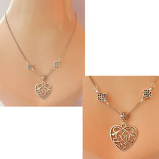 Thistle Necklace Heart Pendant Celtic Scottish Jewelry Handmade Chain Silver New