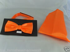 < TOP > Shiny Neon Orange Polyester Mens Bow Tie and Hankie Set > in 60 Colours