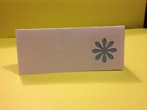 50 Light Blue Flower wedding place name cards, table name cards