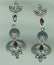 """925 Sterling Silver Garnet & Marcasite Drop / Dangle Earrings  Length 1.1/2"""""""