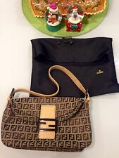 Authentic FENDI Brown Zucca Canvas And Leather Baguette Shoulder Bag