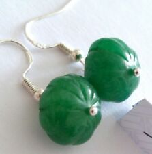 Lovely Pair of 925 Silver Natural Green Emerald Earrings, (A5)