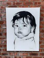 Russian American New York Artist Marc Klionsky Portrait Of A Baby. Signed 1989