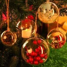 Clear Plastic Christmas Balls Baubles Sphere Fillable Xmas Tree Ornament Decor*1