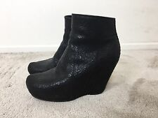 Rick Owens Crackled Textured Black Leather Wedge Platform Boots sz 38