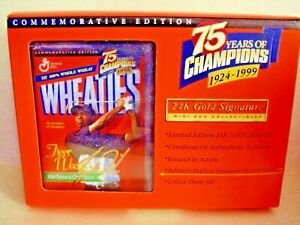 1999 Wheaties 75 years of Champions 24K Gold Signature Mini Box TIGER WOODS