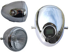"5 3/4"" Vintage Style Chrome Mesh Headlight & Integrated Digital GPS Speedometer"