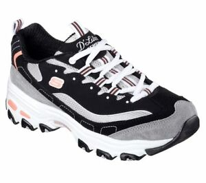 11947 Black D'lites Skechers Shoes Women Sport Casual Comfort Memory Foam Sporty