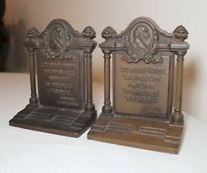 pair of antique B&H figural bronzed cast iron Bryant Thanatopsis bookends
