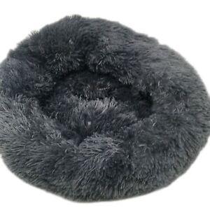 Fluffy Round Calming Bed Pet Dog Cat Plush Soft Warm Sleeping Nest Kennel Donut