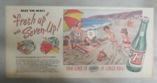 "7-Up Ad: The ""All"" Family Drink ! Family at Beach ! from 1950's  7.5 x 15 inches"