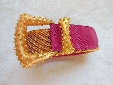 Carlisle Womens Gold Plated Mesh Metallic Fuchsia Hot Pink Lizard Embossed Sz S