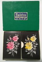 Vintage Blackstone Double Deck Plastic-Coated Playing Cards Pink & Yellow Roses