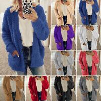 Women's Fashion Fleece Fur Fluffy Cardigan Hoody Warm Teddy Bear Coats Outwear