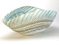 "HOME DECOR - MURANO GLASS DECORATIVE SHELL BOWL - IVORY / TURQUOISE - 12"" x 7"""