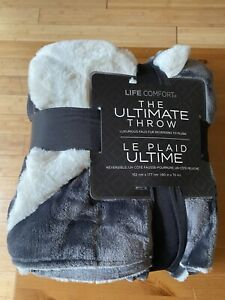 Life Comfort Ultimate Throw - Gray Faux Fur / White Plush Reverse 152 x 177cm