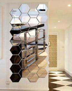 12 Pcs 3D Hexagon Home Decor Silver Color Wall Stickers DIY Removable Mirror