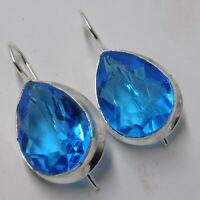 Blue Topaz Quartz 925 Sterling Silver Plated Handmade Jewellery Earrings 7 Gm-O3
