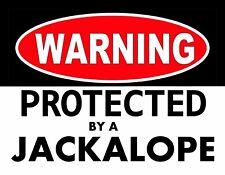 METAL MAGNET Warning Protected By Jackalope Fantasy Folklore Humor MAGNET