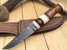"UNTEX Custom Handmade Damascus 9"" Long Full Tang Walnut Bush Craft Hunting Knife"