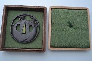 Iron Tsuba Persimmon and two bees design Edo period antique