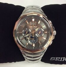 SEIKO Mens New COUTURA Series Stainless Rose Gold Solar Chronograph WATCH SSC628