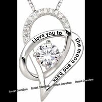 Silver Heart & Moon Love Crystal Necklace Xmas Jeweller Gifts For Her Wife Women