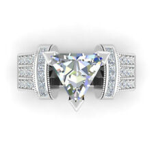 Fashion Women 925 Silver Wedding Ring Trillion Cut White Sapphire Size 9