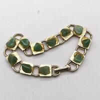 VINTAGE JADE GREEN AGATE GOLD TONE MODERNIST LADIES COSTUME BRACELET BANGLE