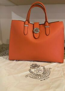 Authentic New Ralph Lauren Leather Tote/Satchel Bag/Purse Orange STUNNING