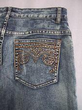 Womens CACHE Jeans Size 0 Rhinestone Pockets Stonewashed RARE 28x33 Designer